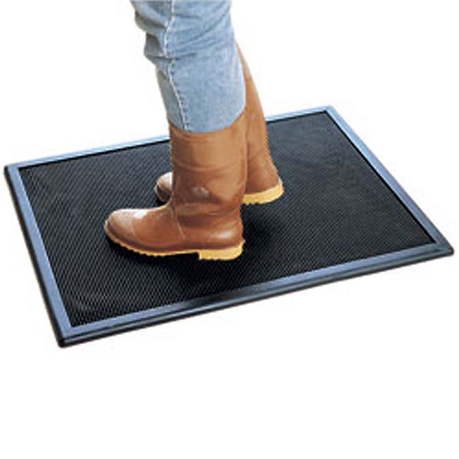Black Rubber Disinfectant Mat Hog Slat