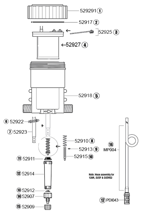 Dosatron D128R parts diagrams