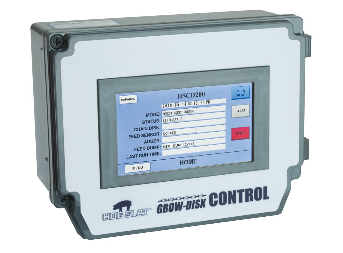 The HSCD200 Grow-Disk controller is a versatile unit capable of managing feeding programs on both finishing and sow farms.