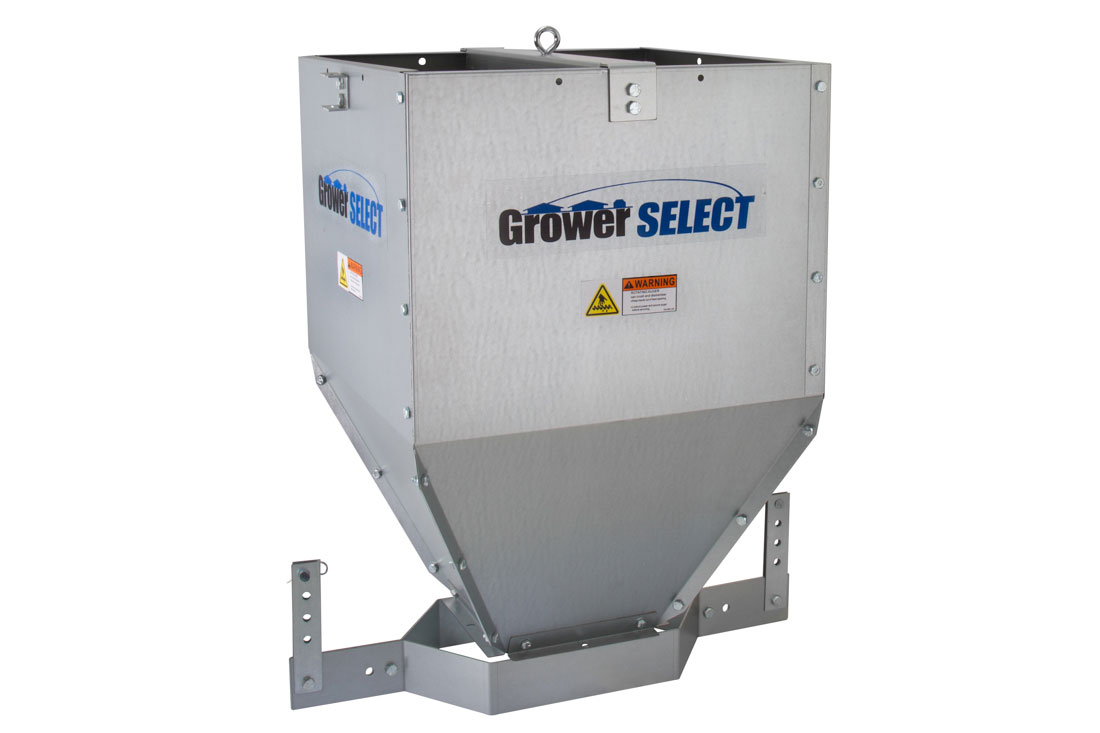 GrowerSELECT® Poultry Feed Line Hoppers are manufactured of durable galvanized steel and available in 120, 200 and 300 pound capacities.
