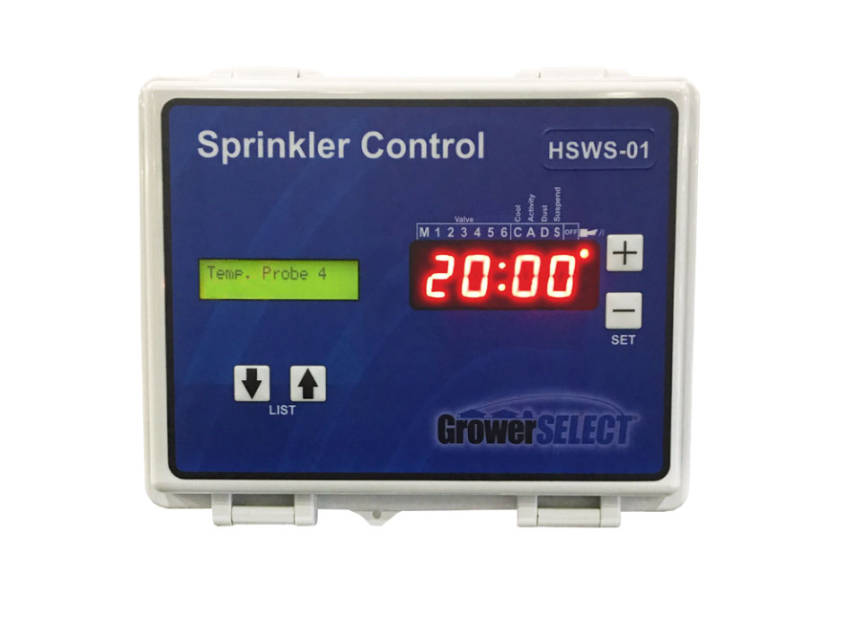 The GrowerSELECT Poultry Sprinkler Control Unit features programmable set points and operates on a three stage system to manage operation frequency and minimize heat stress in poultry barns.