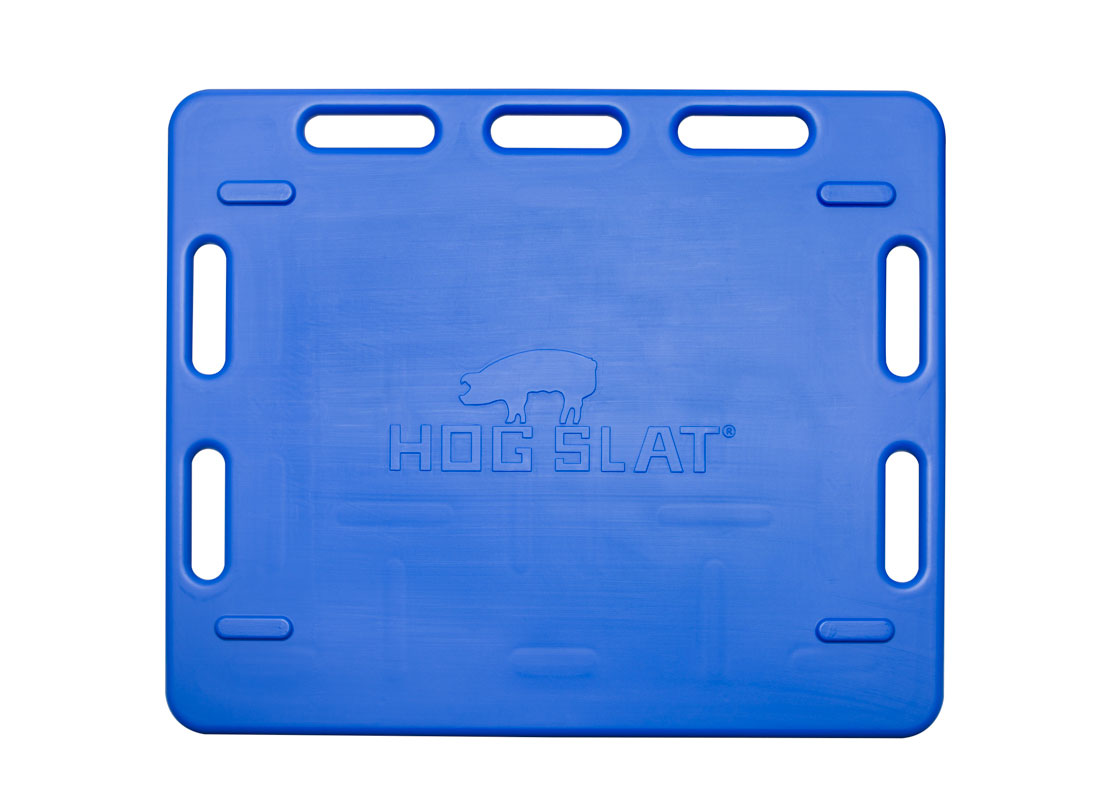 Hog Slat blue poly sorting panels are a lightweight, convenient solution to safely completing pig moving chores in the barn.