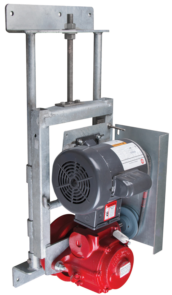 The scraper system power unit features a powerful ¾ HP high service factor motor, cast iron reduction gear and heavy-duty galvanized steel chassis.