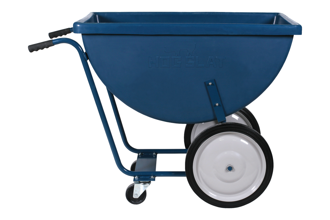 The Hog Slat Chore Cart makes quick and easy work of hauling feed or supplies through your pig barns.