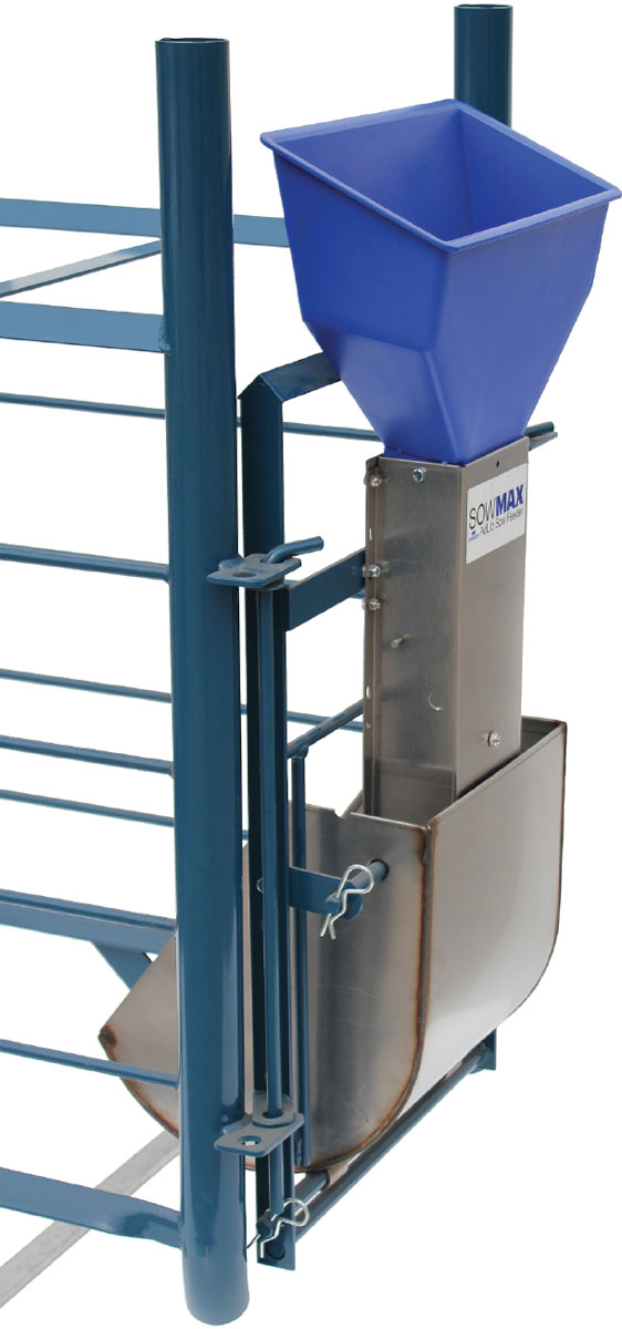 SowMAX ad-lib feeder, shown mounted with a size small Hog Slat sow bowl and optional blue feed hopper (bowl & hopper sold separately)