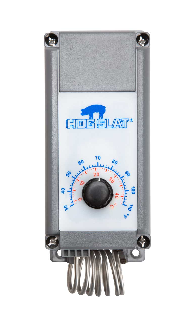 Hog Slat® single stage thermostats control fans, heaters and other equipment that is temperature sensitive.