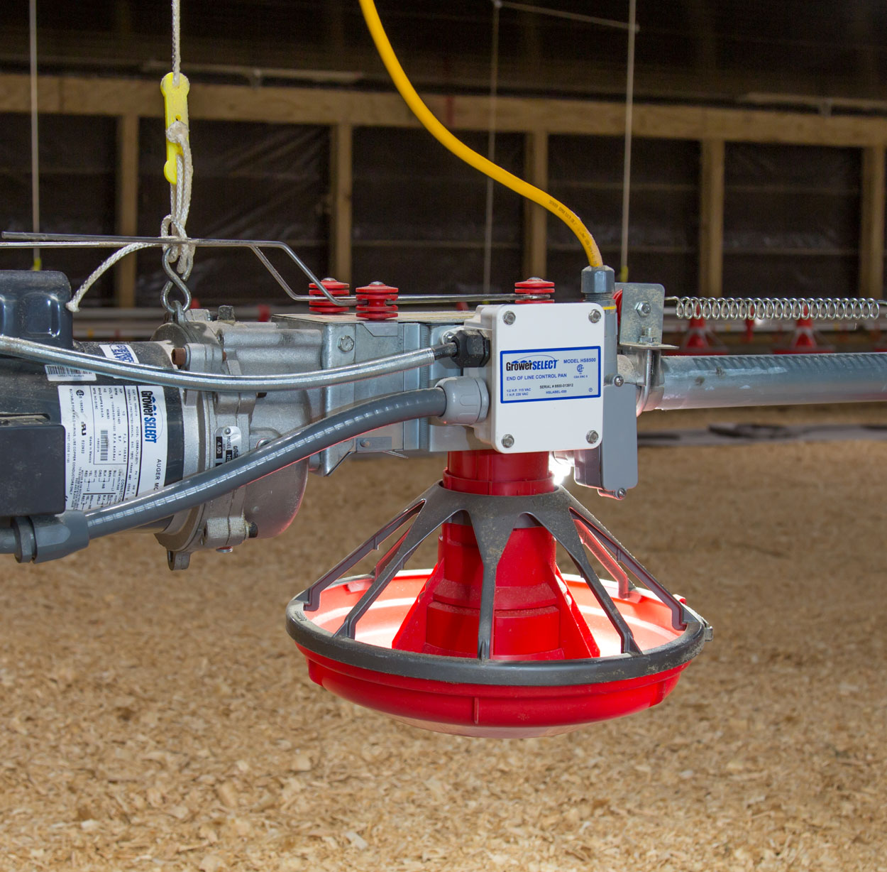 GrowerSELECT® HS8500 End of Line Control Pan with Control Pan Light Kit installed on a broiler house feed line.