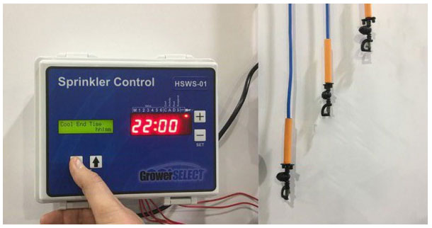 "The GrowerSELECT® poultry sprinkler control is available as a stand-alone unit, or packaged with 22"" sprinkler drops, sensors and manifold to fit barns 50' wide or larger in lengths from 400' to 660'."