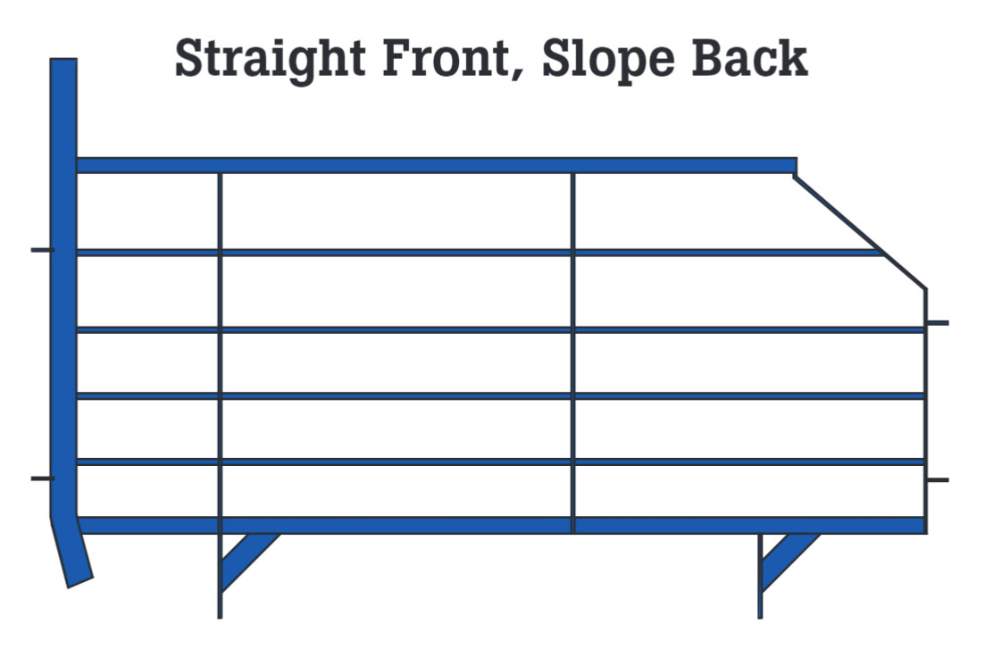 Straight front and sloped back gestation stall design. Available in blue powder coated epoxy painted or hot-dipped galvanized finishes.