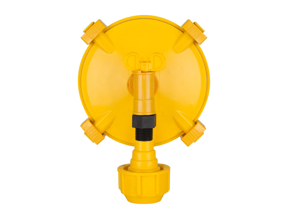 "The Hog Slat Euro Valve features four clips that can be removed without tools for diaphragm access, a flow control valve and a compression fitting that accepts 1/2"" water pipe."