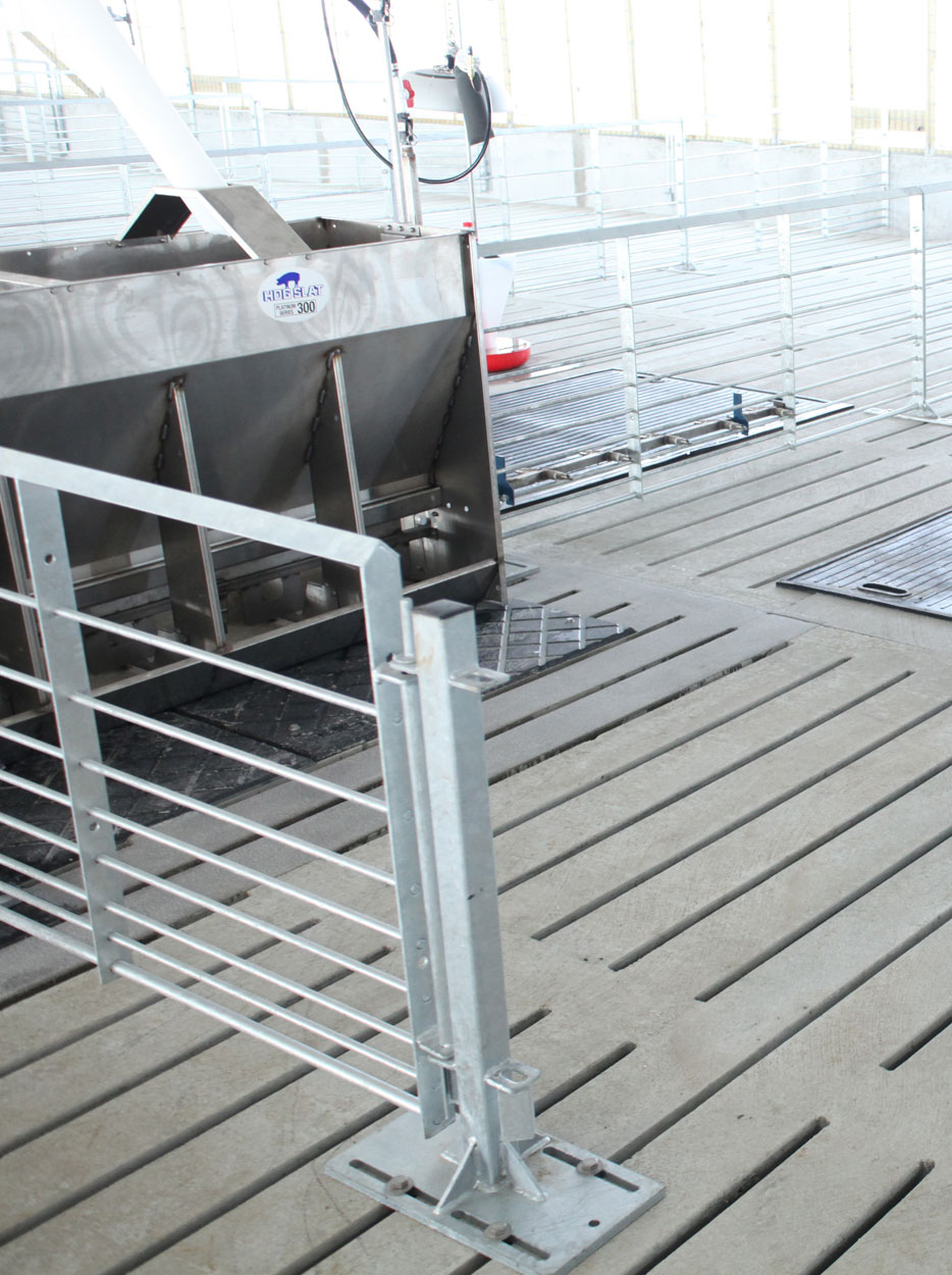 Hog Slat concrete slats provide durable, stable flooring for pigs, feeders, posts, penning and other equipment inside swine barns.