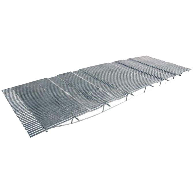 Hog Slat TriDEK metal flooring is available in many different sizes and design configurations. The self-supported, trussed design (shown) eliminates the need for floor frames or additional support and can span pit openings up to 12' across.